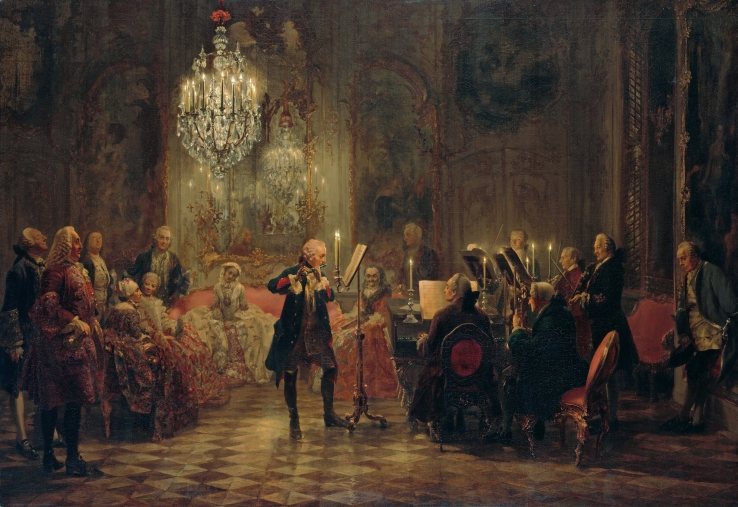 Adolph von Menzel - Concert for flute with Frederick the Great in Sanssouci - 1852